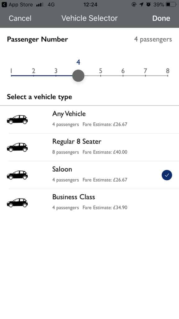 Select your vehicle type